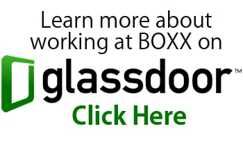 A Glassdoor ads states 'Learn more about working at BOXX on glassdoor' with a click here in green outline