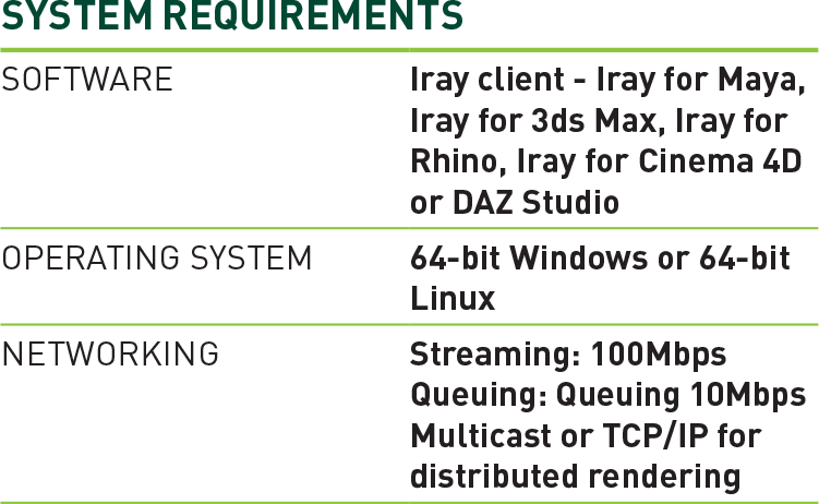 Iray System Requirements