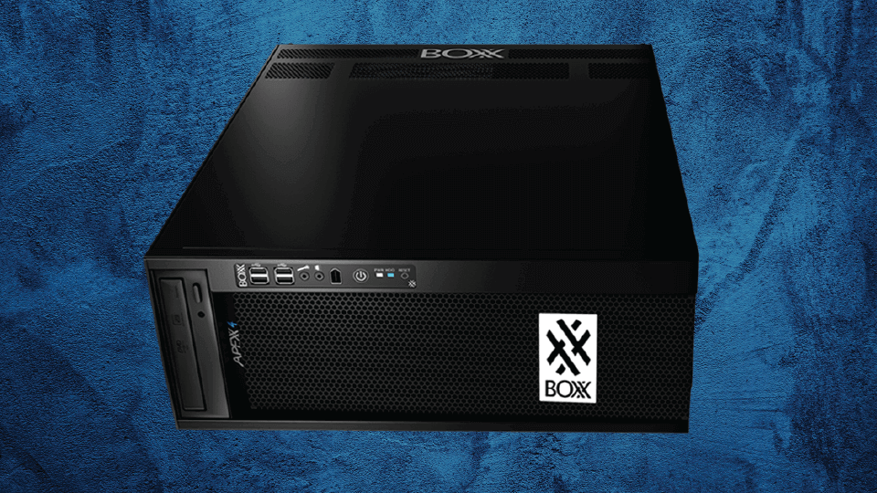 APEXX 4 system in rackmount orientation floating on an abstract blue background